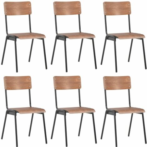 Dining Chairs 6 pcs Brown Plywood - Brown