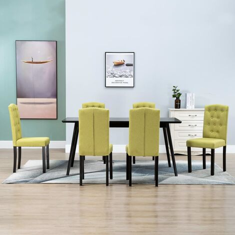 Dining Chairs 6 pcs Green Fabric