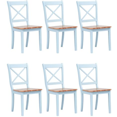 Dining Chairs 6 pcs Grey and Light Wood Solid Rubber Wood