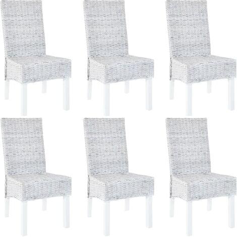 Dining Chairs 6 pcs Grey Kubu Rattan and Mango Wood - Grey