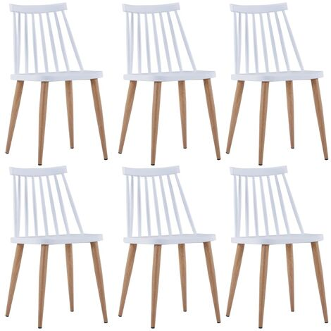 Dining Chairs 6 pcs White Plastic