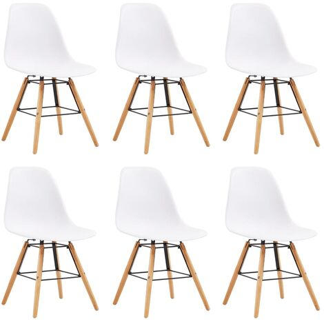 Dining Chairs 6 pcs White Plastic - White