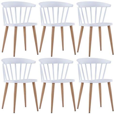 Dining Chairs 6 pcs White Plastic - White