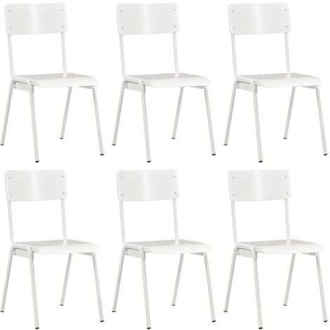 Dining Chairs 6 pcs White Plywood