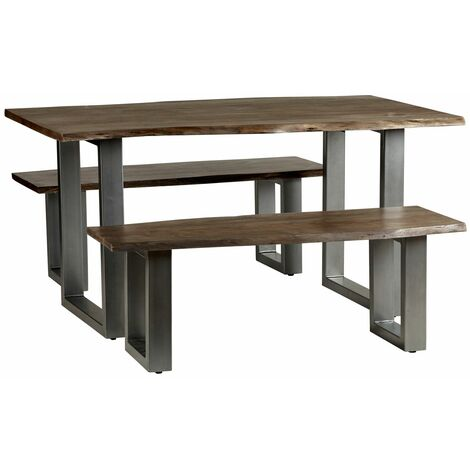 Dining Set with 2 Benches Grey Essential Live Edge - Light Wood