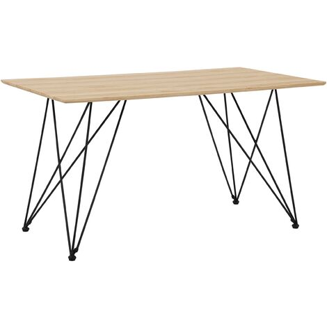 Dining Table 140 x 80 cm Light Wood with Black KENTON