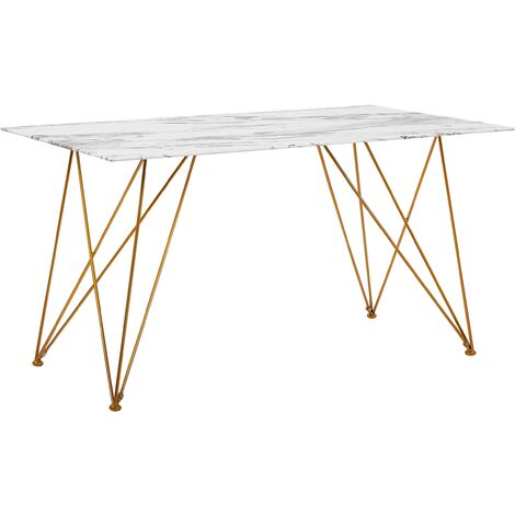 Dining Table 140 x 80 cm Marble Effect White with Gold KENTON