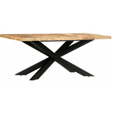 Dining Table 180x90x76 cm Solid Rough Mango Wood