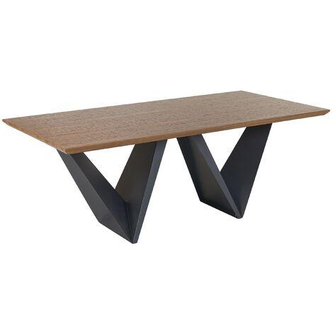 Dining Table 200 x 100 cm Dark Wood with Black SINTRA