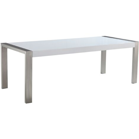 Dining Table 220 x 90 cm White with Grey ARCTIC I