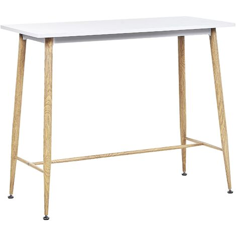 Dining Table 90 x 50 cm Kitchen Table White Top Wood Finish Metal Legs Chaves