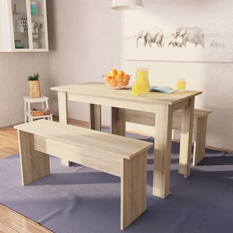 Dining Table and Benches 3 Pieces Chipboard Oak - Brown