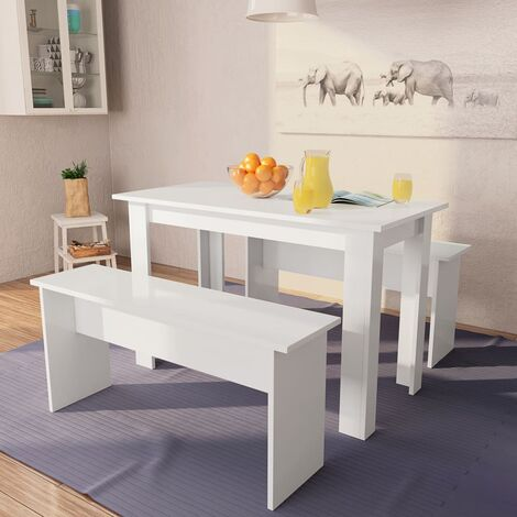 Dining Table and Benches 3 Pieces Chipboard White - White