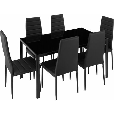 Dining table and chair SET Brandenburg 6+1 - dining room table and chairs, dining table and 6 chairs, kitchen table and chairs - black