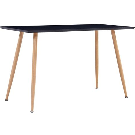 Dining Table Black and Oak 120x60x74 cm MDF