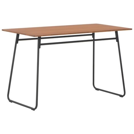 Dining Table Brown 120x60x73 cm Solid Plywood Steel