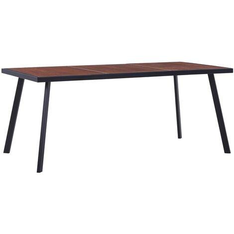 Dining Table Dark Wood and Black 180x90x75 cm MDF