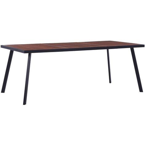 Dining Table Dark Wood and Black 200x100x75 cm MDF