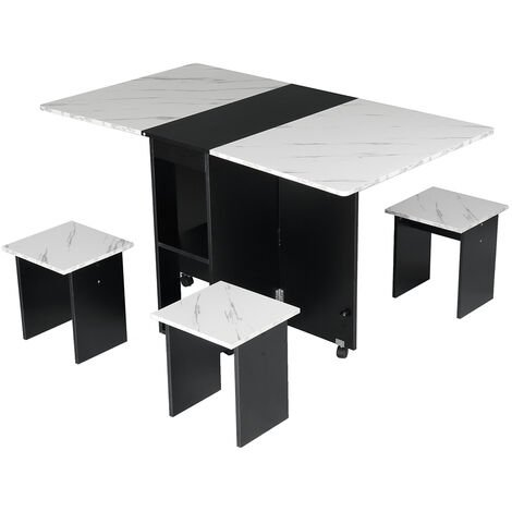 Dining Table Folding Desk w/ 4X Stools Seat