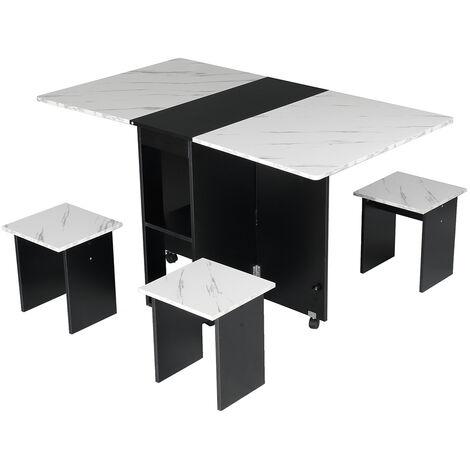 Dining Table Folding Desk w/ 4X Stools Seat
