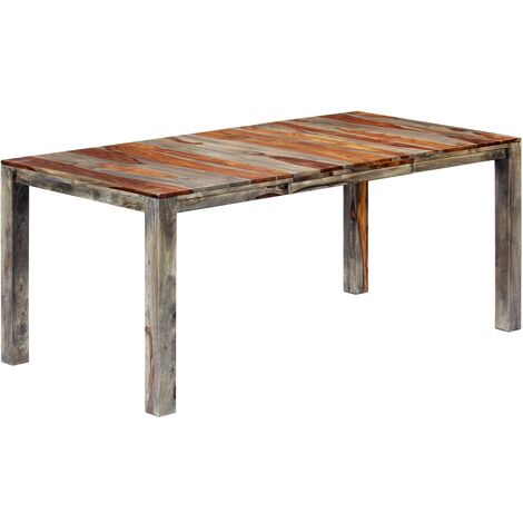 Dining Table Grey 180x90x76 cm Solid Sheesham Wood
