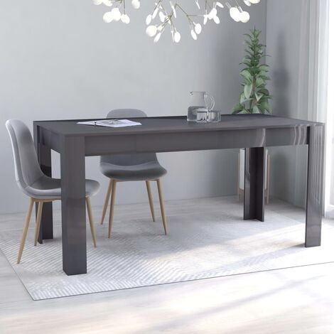 Dining Table High Gloss Grey 160x80x76 cm Chipboard