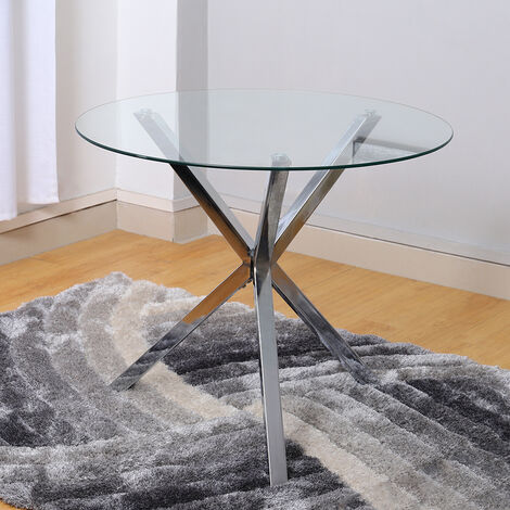 Dining Table Round Tempered Glass Coffee Table