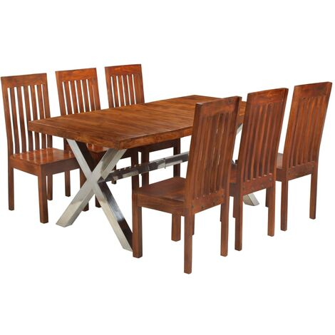 Dining Table Set 7 Piece Solid Acacia Wood with Sheesham Finish