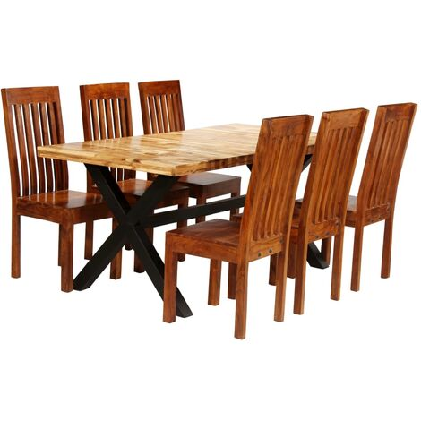 Dining Table Set 7 Pieces Solid Acacia and Mango Wood
