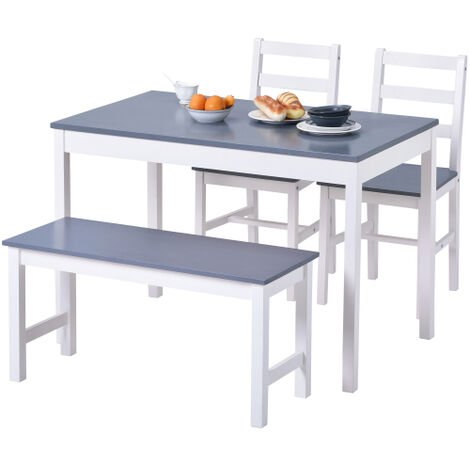"""main image of """"Dining Table,Chairs and bench Set of 4 Solid Pine Kitchen Table and Chairs Set"""""""