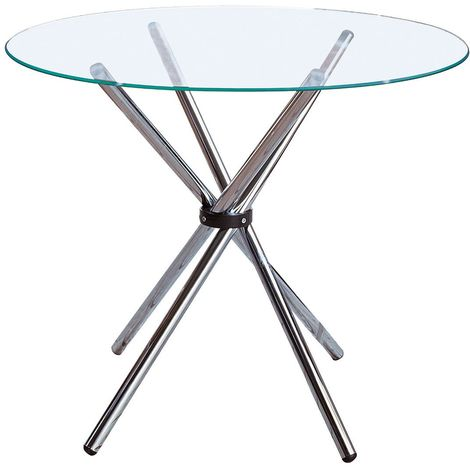 Dining Table,Clear Glass,Chrome Finish Legs