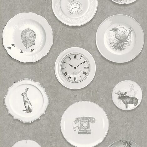 Dinner Plate Rasch Wallpaper Grey Birds Clocks Traditional Vinyl Kitchen