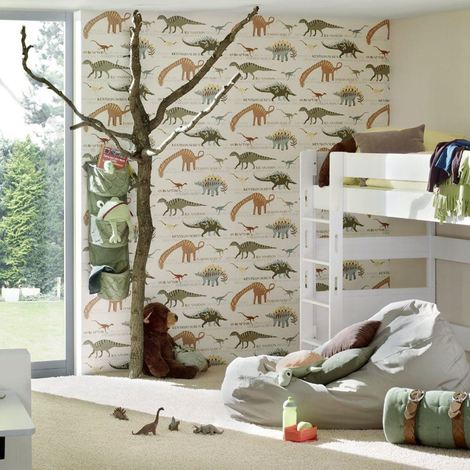 Dinosaur Wallpaper Kids Children's Bedroom Animal Natural Multi AS Creation