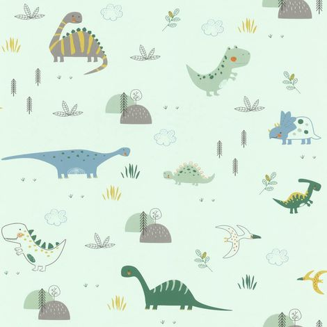 Dinosaurs Wallpaper Kids Children's Room Nursery Mint Green Blue Grey Rasch