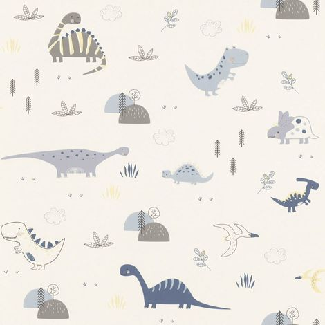 Dinosaurs Wallpaper Kids Children's Room Nursery White Blue Grey Yellow Rasch