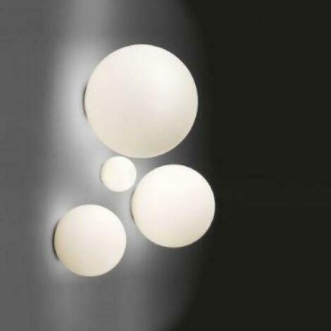 Dioscuri lampe murale et location petite lampe e14 diametre 14cm verre soffié et polycharbonate couleur blanc 1039110a