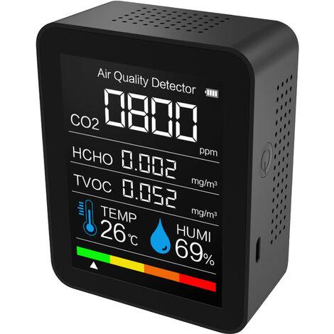Dioxido de Carbono Detector de Temperatura / Humedad de Calidad del Aire monitor digital de CO2 Medidor de formaldehido detector de aire Analizador de CO2 / HCHO / COVT Precisa Tester Kit, Negro