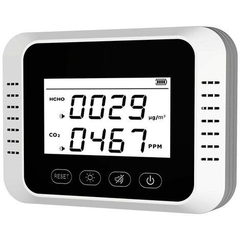 Dioxido de Carbono Monitor de Calidad del Aire detector digital de CO2 Medidor de formaldehido Tester Analizador de contaminacion del aire Medidor de CO2 / HCHO multifuncional aire detector de gas datos en tiempo real