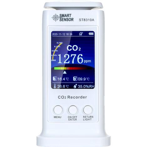 Dioxido de SMART SENSOR LCD Monitor de CO2 de carbono Tester multifuncional Detector de Calidad del Aire de temperatura USB recargable CO2 Medidor de Humedad del monitor 80000 Grupos Data Logger Aire Analizador
