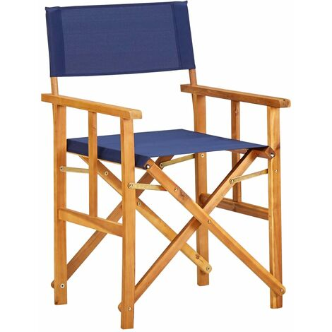 Director's Chair Solid Acacia Wood Blue