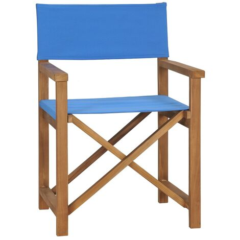 Director's Chair Solid Teak Wood Blue