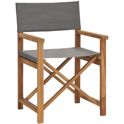 Director\'s Chair Solid Teak Wood Grey