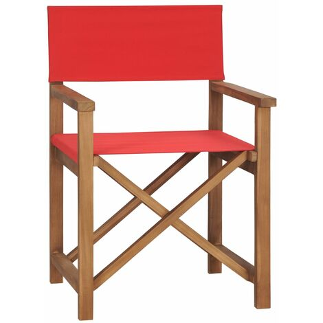 """main image of """"Director's Chair Solid Teak Wood Red - Red"""""""
