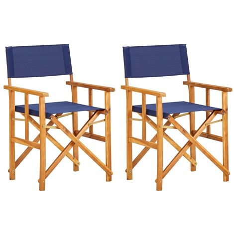 Director's Chairs 2 pcs Solid Acacia Wood Blue