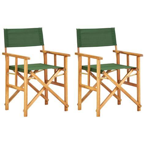 Director's Chairs 2 pcs Solid Acacia Wood Green