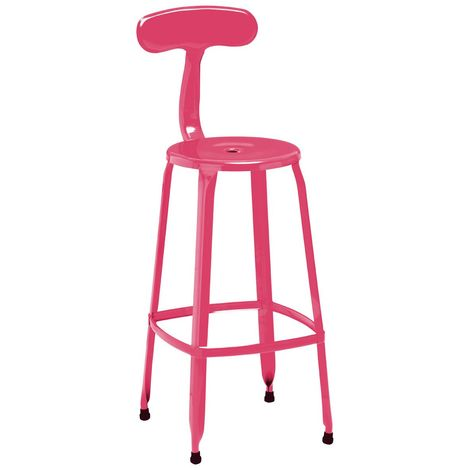 Disc Bar Chair Metal Coated With Powder With Hot Pink Finish