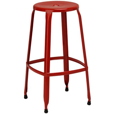 Disc Stool,Red Powder Coated Metal