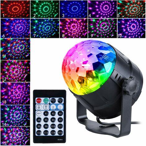Disco Ball Disco Light avec 15 formes d'éclairage, lumière de fête Led Disco Ball Light Effets de lumière Disco RGB LED Party Lighting pour la décoration d'Halloween, fête de club d'anniversaire pour enfants