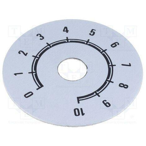 Disco Boton Mando Numerado Escala 0-10 50mm PLATA