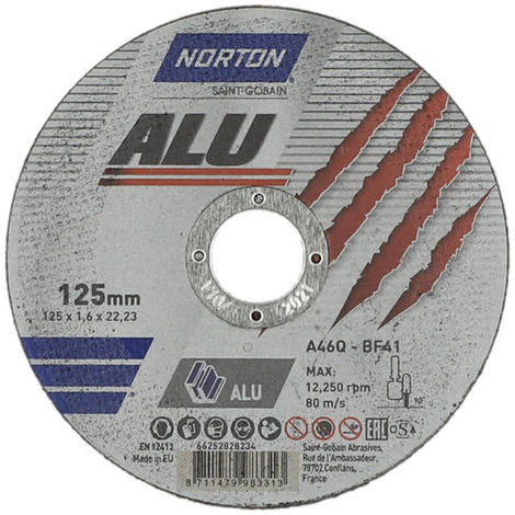 Disco de corte de aluminio 125x22,23 mm Norton ALU